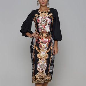 Navy Designer Print style 3/4 Sleeve Midi Dress